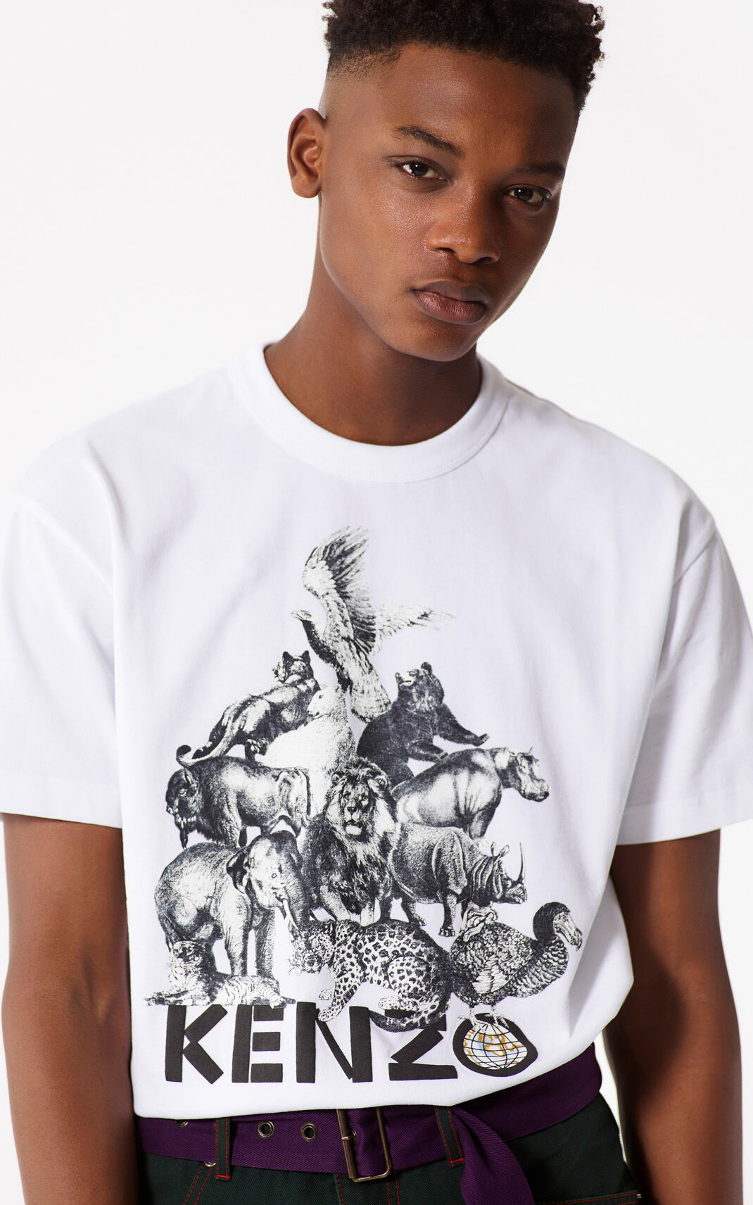 WHITE 'Animals' T-shirt for men KENZO