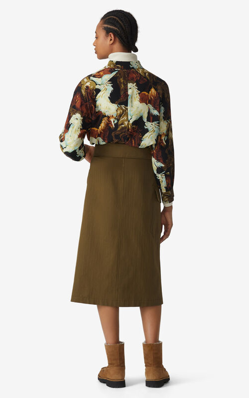 KHAKI Midi skirt  for women KENZO
