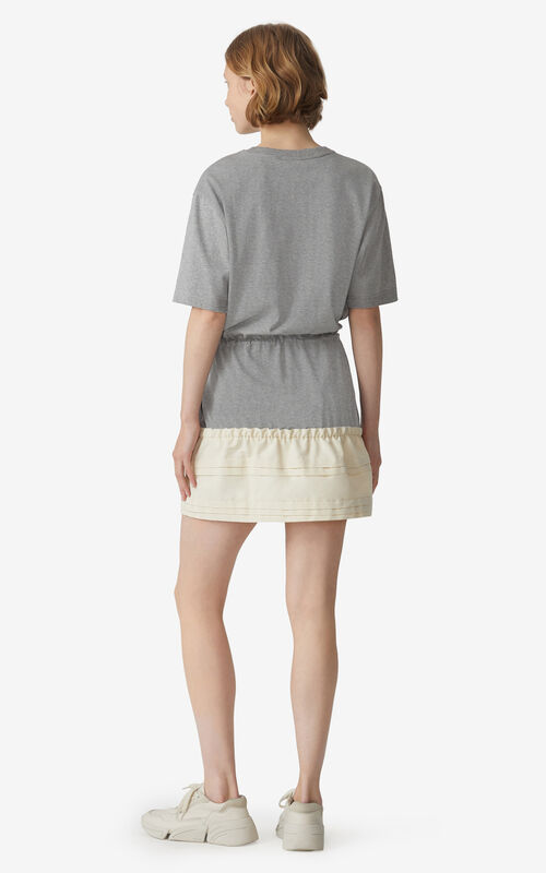 PEARL GREY Dual-material T-shirt dress for women KENZO
