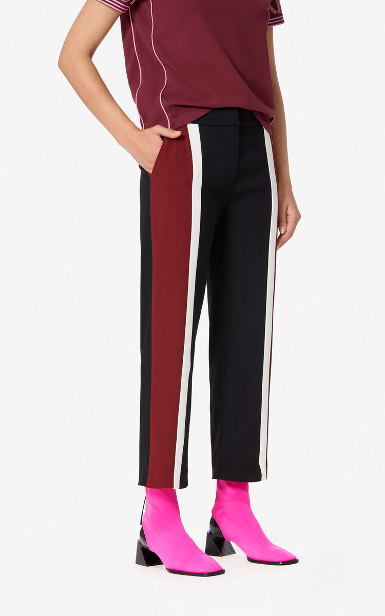 BLACK Colour block crepe trousers for women KENZO