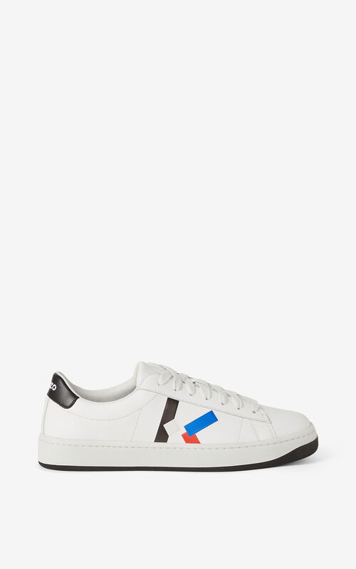 ROYAL BLUE Leather KENZO Kourt K Logo trainers for unisex