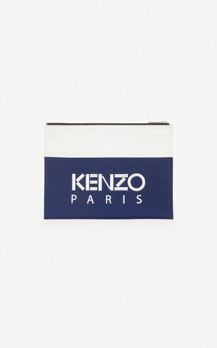 MIDNIGHT BLUE A4 'Colorblock Tiger' clutch for unisex KENZO