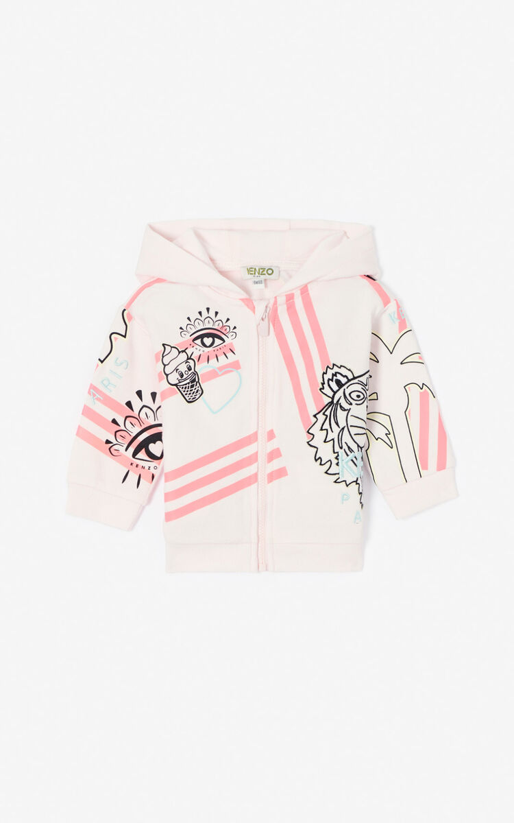 FADED PINK 'Cali Party' zipped hooded sweatshirt for women KENZO