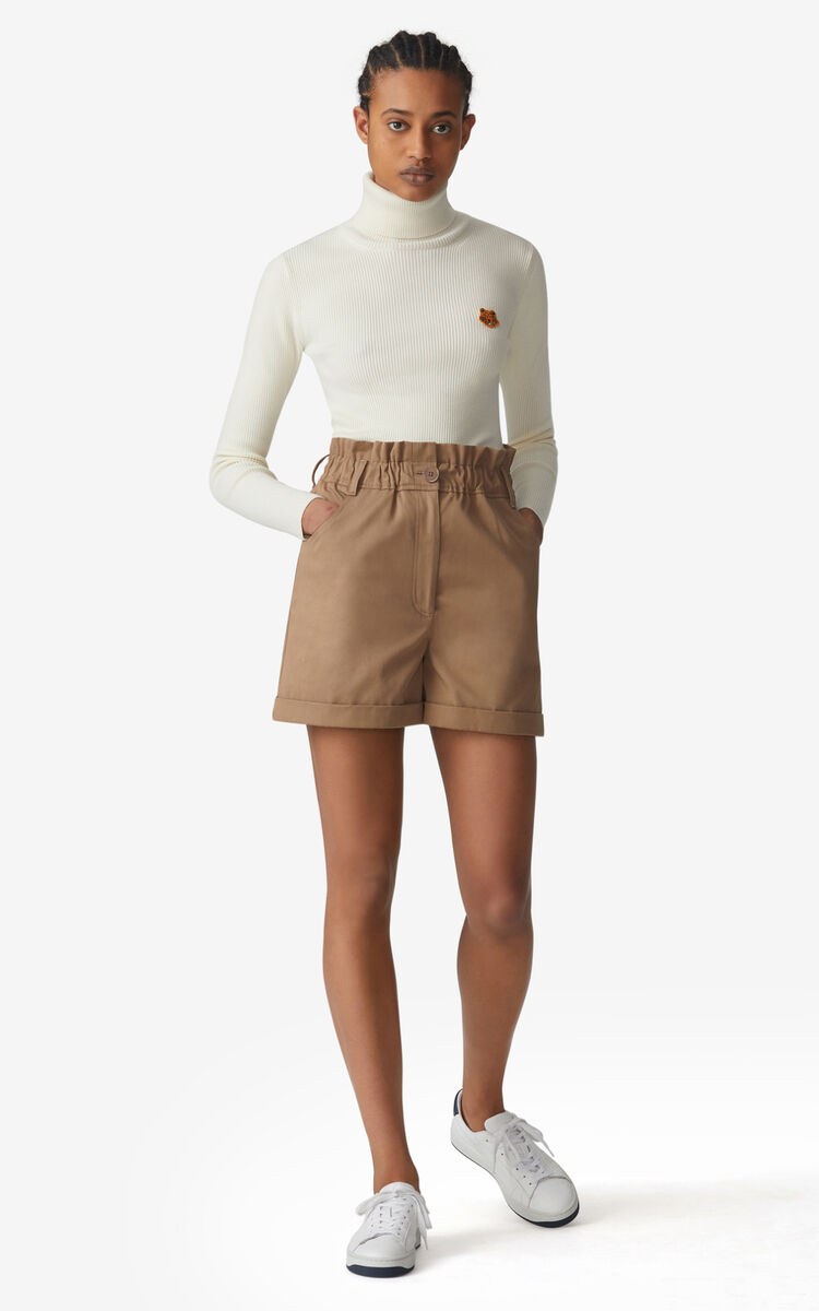 DARK BEIGE High-waisted shorts for women KENZO