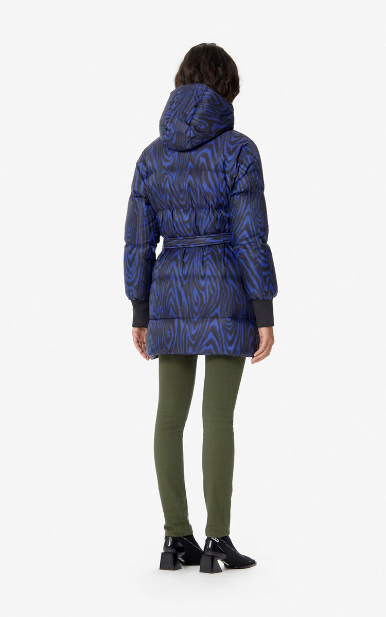 NAVY BLUE Long quilted 'Moire Tiger' puffer jacket for women KENZO