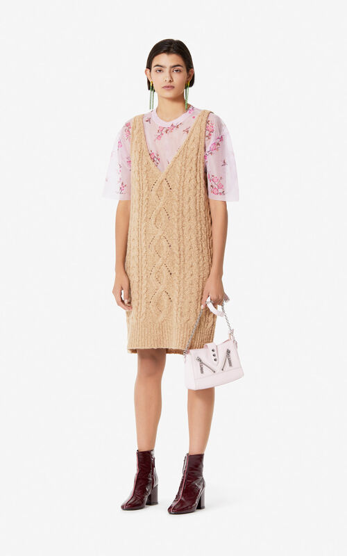 DARK BEIGE Knit dress for women KENZO