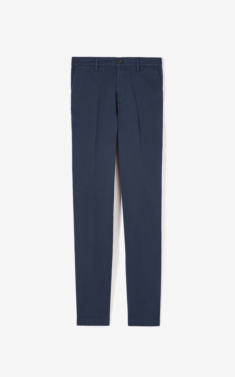 NAVY BLUE Slim-fit rolled-cuff chinos for men KENZO