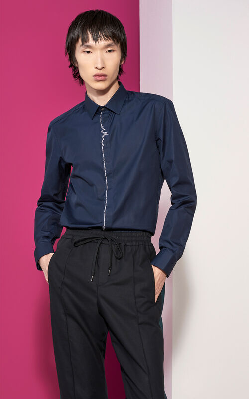 NAVY BLUE Sound wave Embroidered Shirt for men KENZO