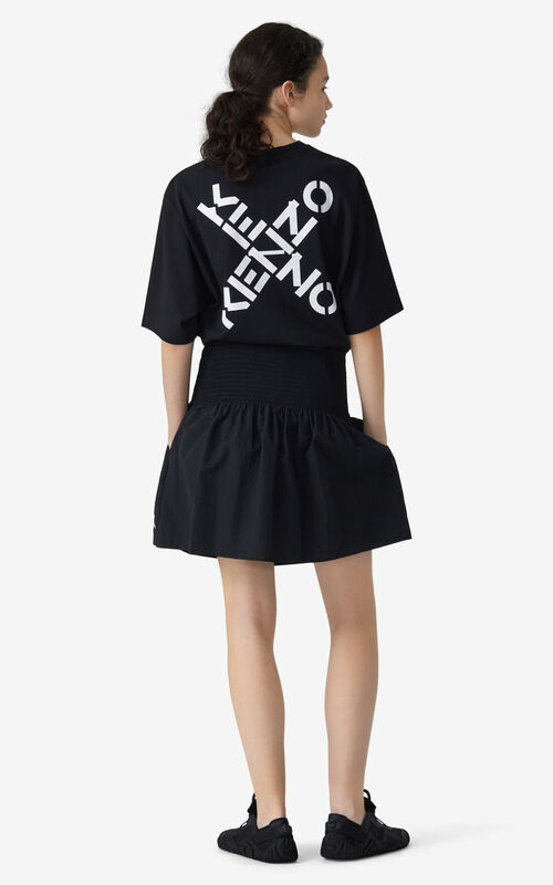 BLACK KENZO Sport 'Little X' flared skirt  for men