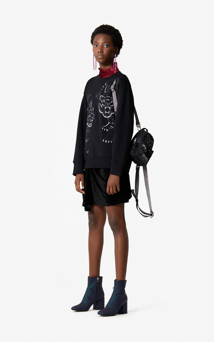 BLACK Sweatshirt 'Double Tiger' for women KENZO