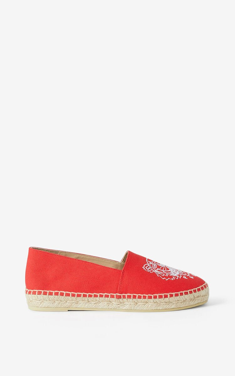 MEDIUM RED 'Chinese New Year Capsule' Tiger canvas espadrilles for women KENZO