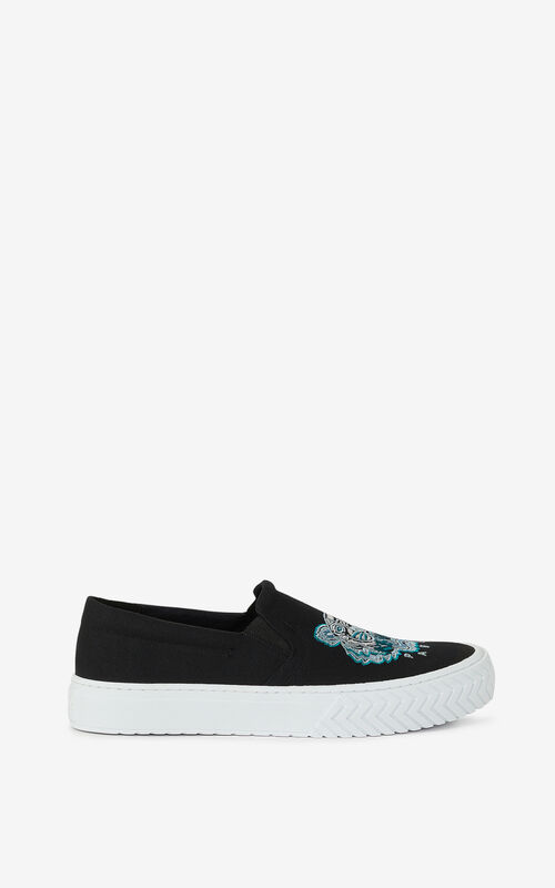 BLACK K-Skate Tiger laceless canvas trainers for unisex KENZO