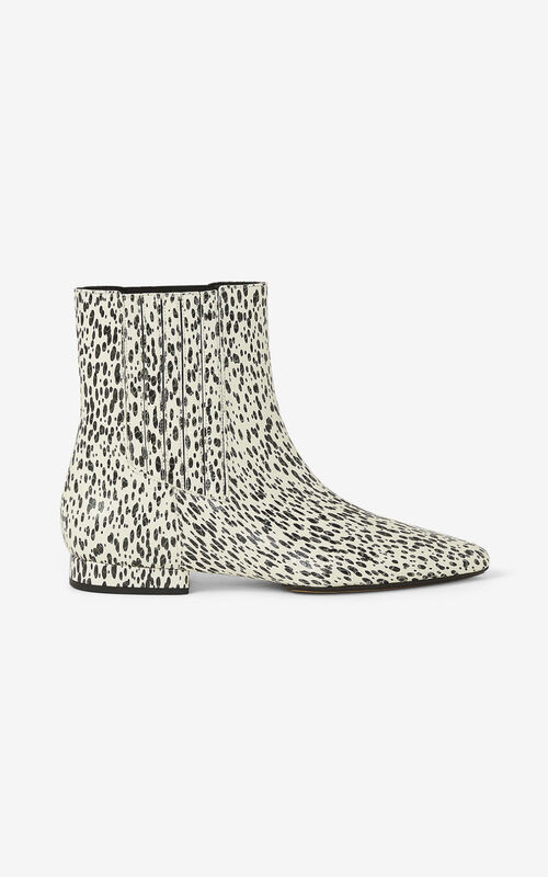 ECRU K-Line Soft 'Leopard' leather ankle boots for unisex KENZO