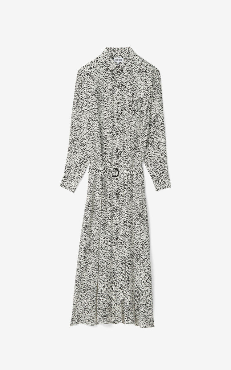 ECRU 'Leopard' long shirt dress for women KENZO