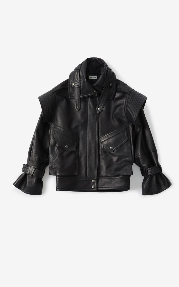 BLACK Leather jacket for women KENZO
