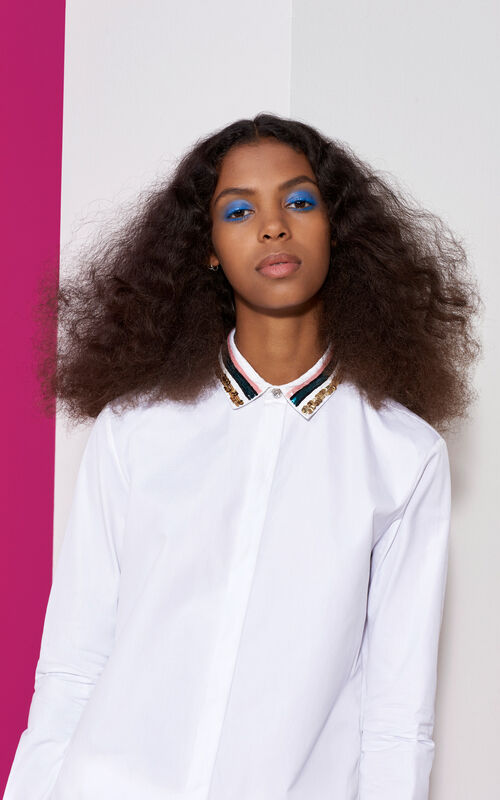 Sequined Collar Shirt, WHITE, KENZO
