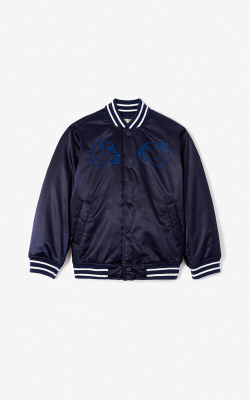 NAVY BLUE Quilted Tiger bomber jacket for unisex KENZO ...