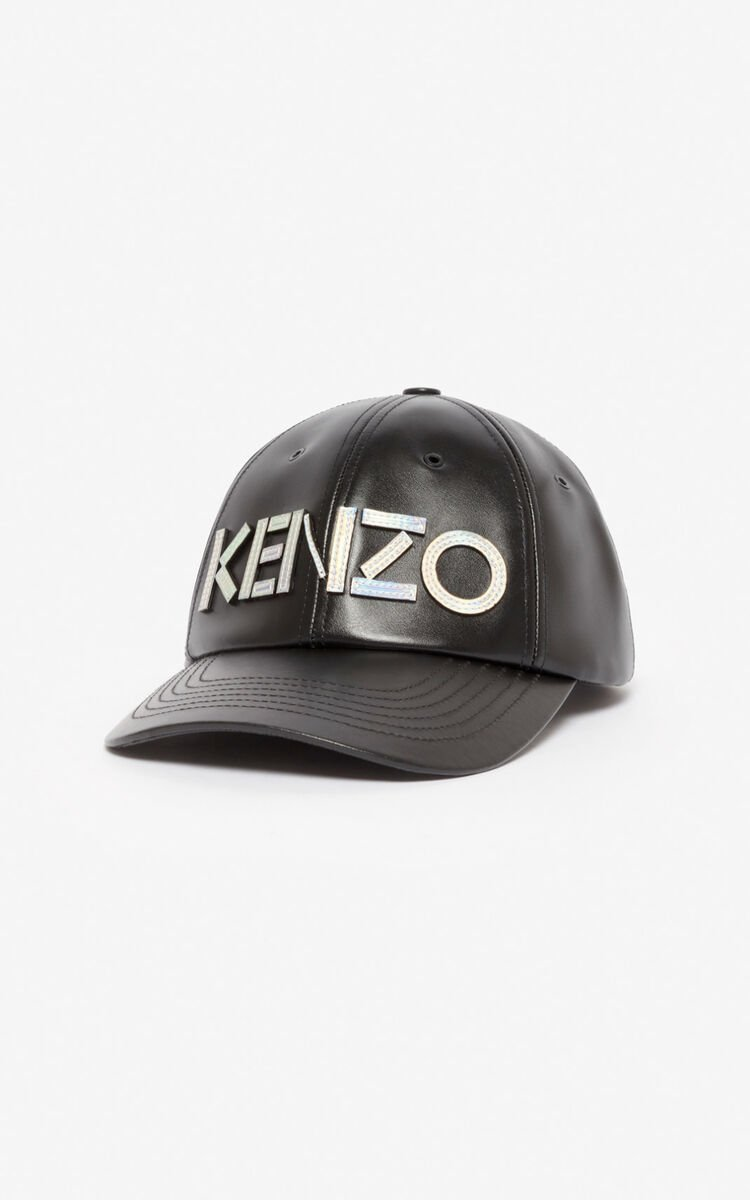 BLACK KENZO Kontrast leather baseball cap for unisex