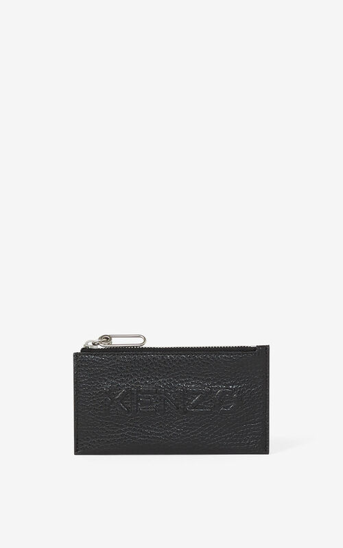 BLACK KENZO Imprint zipped grained leather cardholder for men