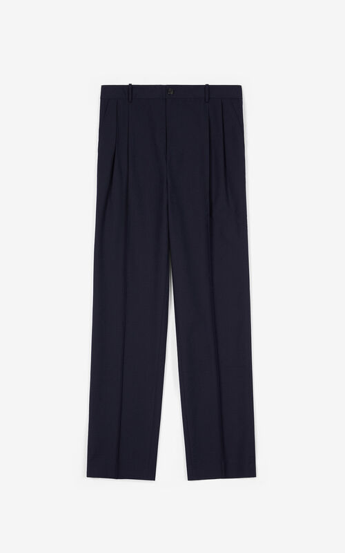 BLUE BLACK Pleated trousers for unisex KENZO