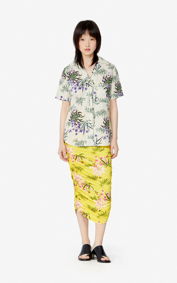 OFF WHITE 'Sea Lily' shirt with tie for women KENZO