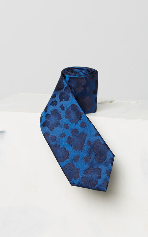 FRENCH BLUE Silk leopard print tie for men KENZO