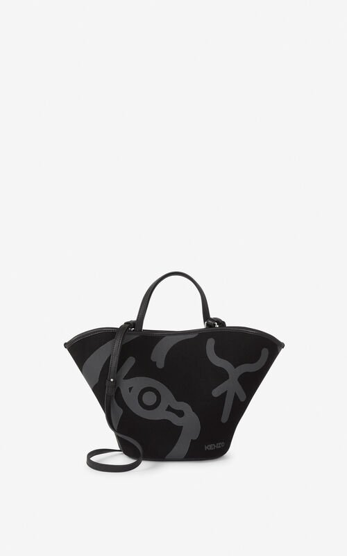 BLACK Small KENZO Arc canvas tote bag for unisex