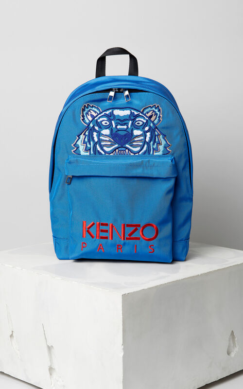 FRENCH BLUE Large Tiger Canvas backpack for men KENZO