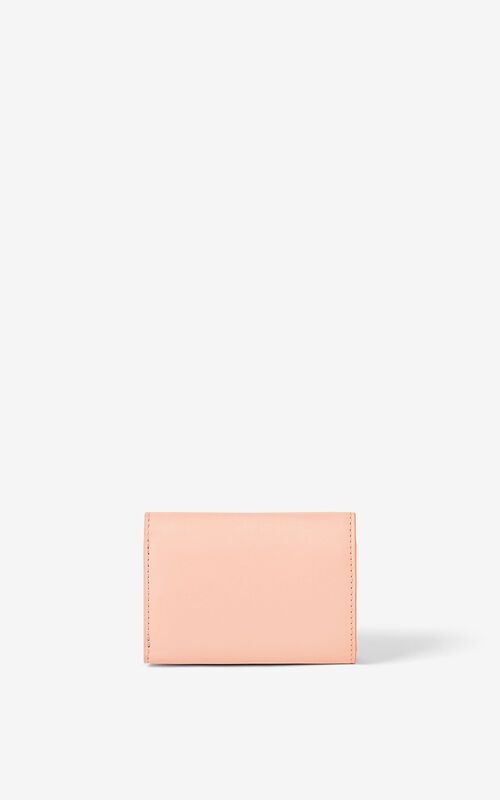 FADED PINK KENZO K mini leather wallet for unisex