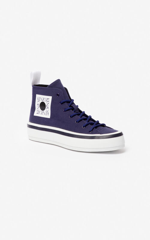 MIDNIGHT BLUE 'Square Logo' K-Street sneakers for unisex KENZO