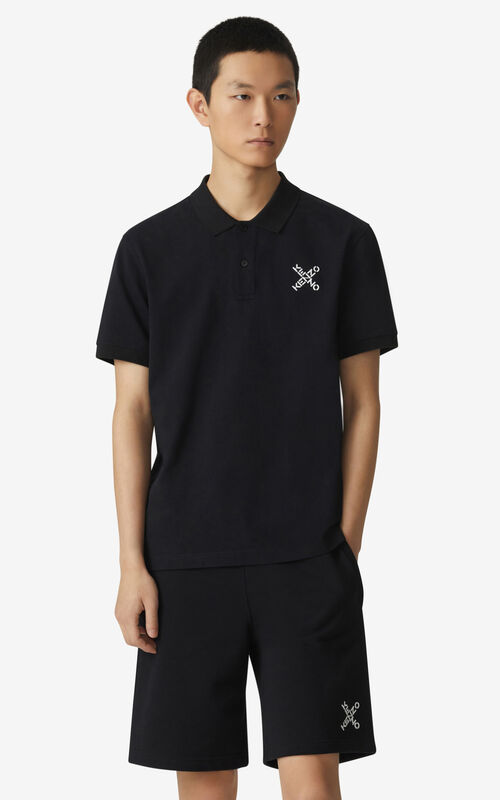 BLACK KENZO Sport 'Little X' polo shirt  for men