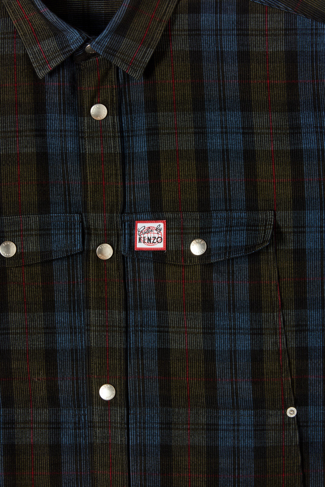 NAVY BLUE Checked corduroy shirt for men KENZO