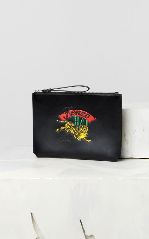 BLACK A4 'Jumping Tiger' leather clutch for men KENZO