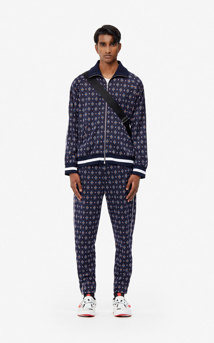 MIDNIGHT BLUE 'Médaillons' jacquard trousers for men KENZO