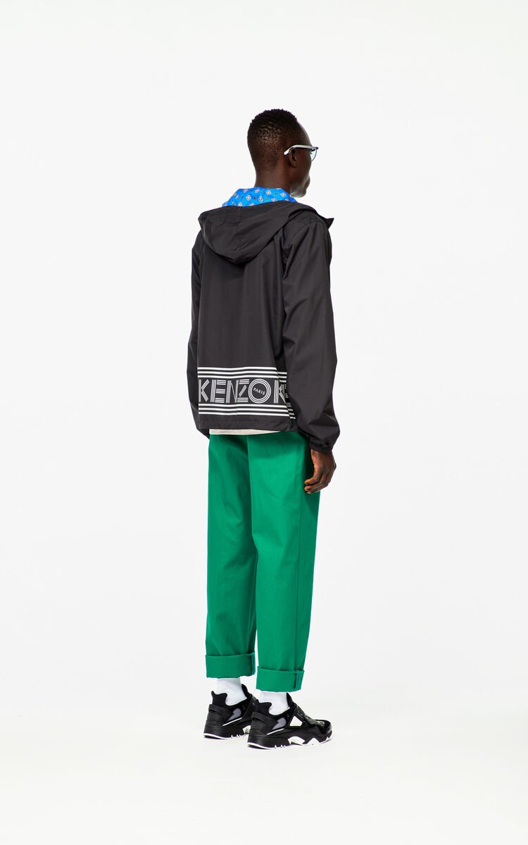 BLACK Reversible KENZO Logo windbreaker jacket for women