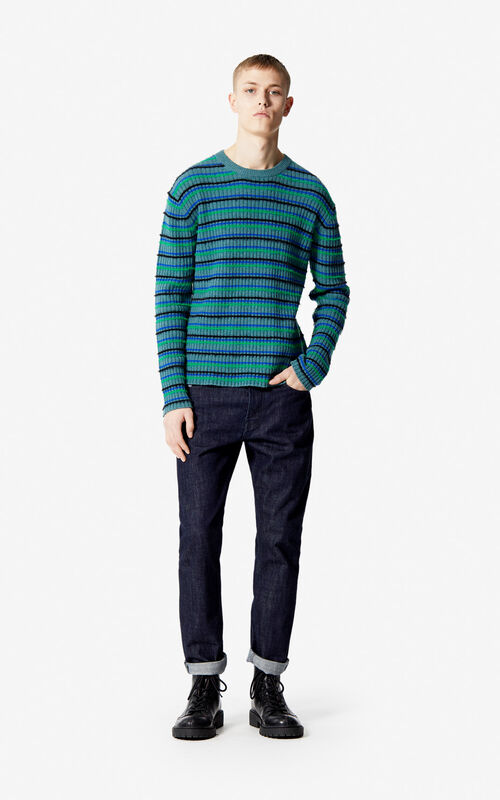 BOTTLE GREEN Jumper with multicoloured stripes for women KENZO