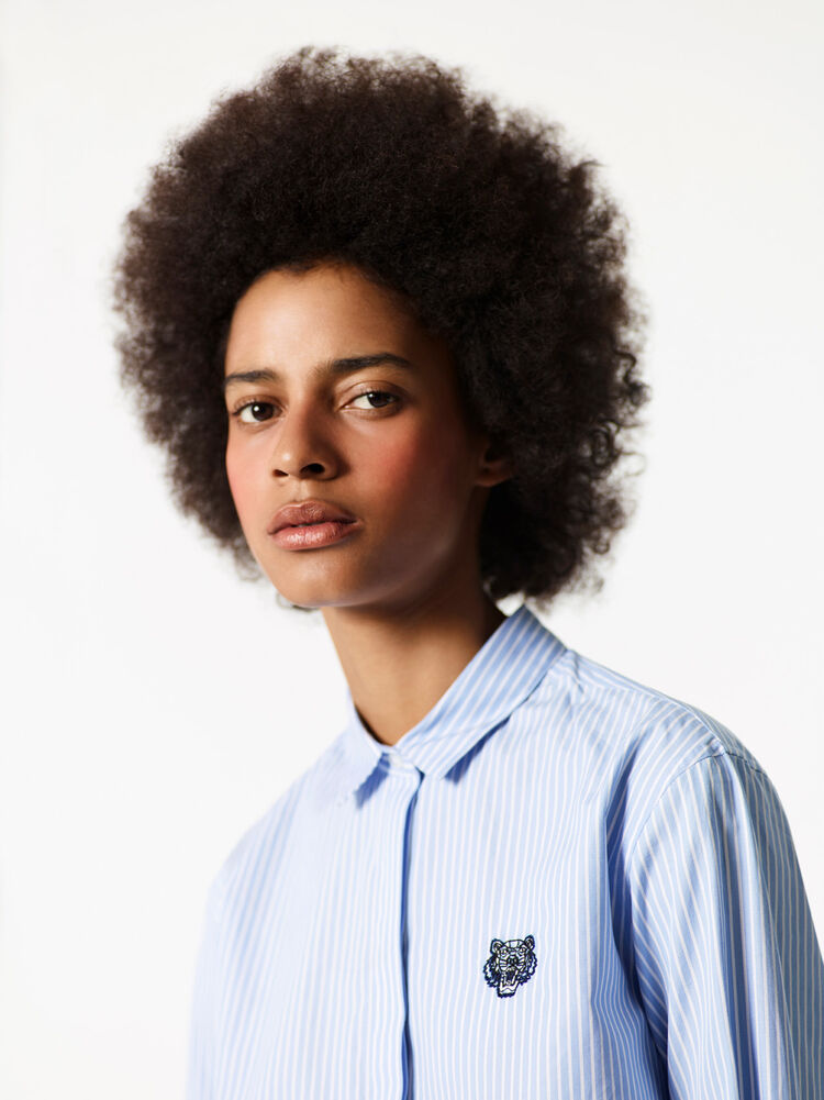 LIGHT BLUE Striped Tiger Shirt for women KENZO