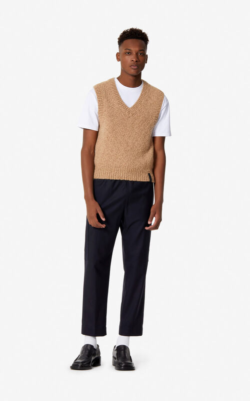DARK CAMEL Sleeveless jumper for men KENZO