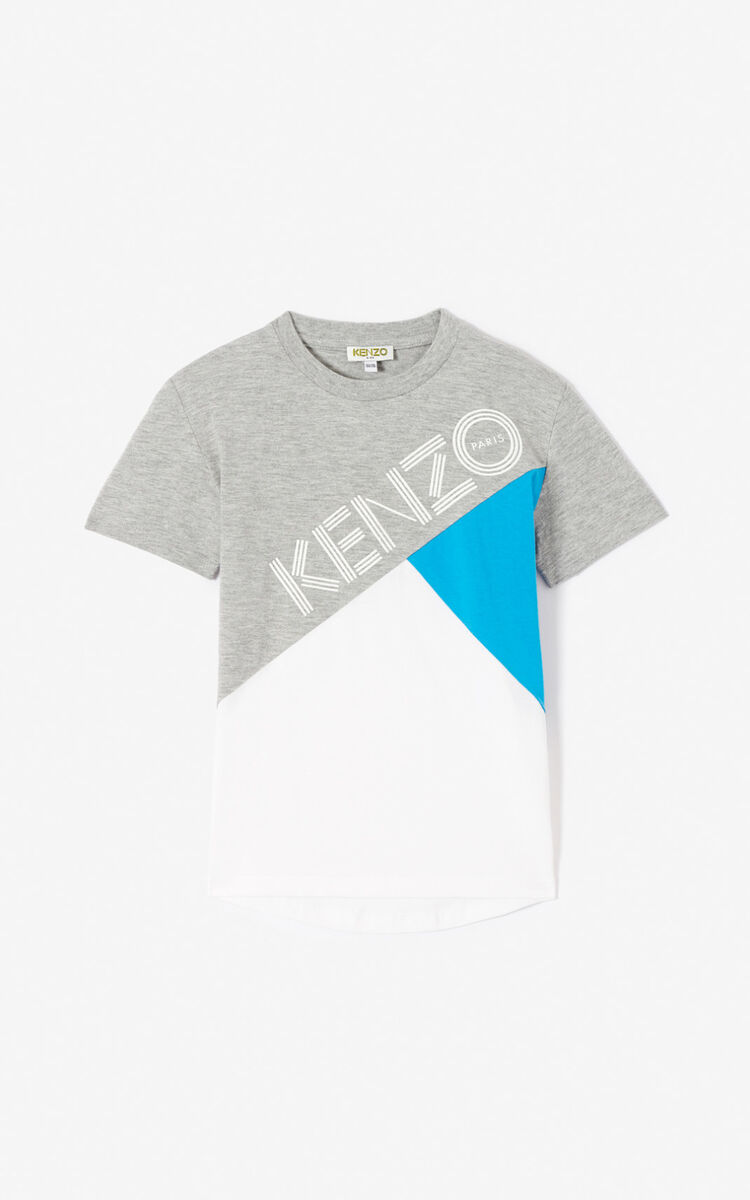 WHITE Colorblock KENZO logo T-shirt. for women