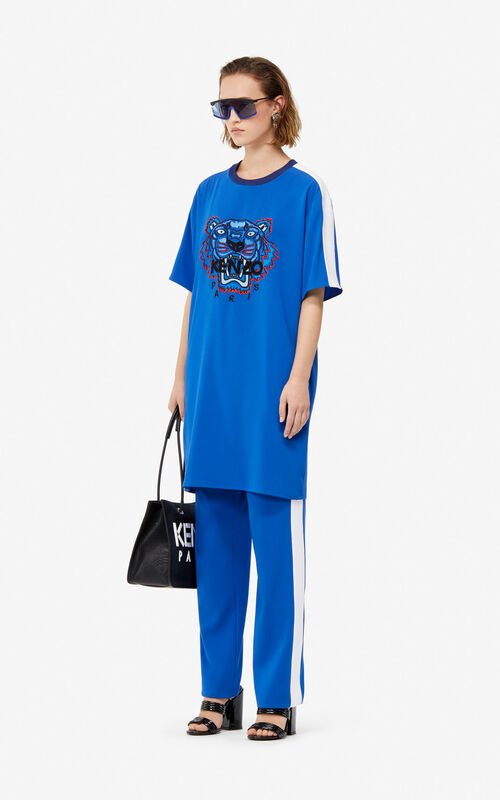 FRENCH BLUE Crepe Tiger dress for women KENZO