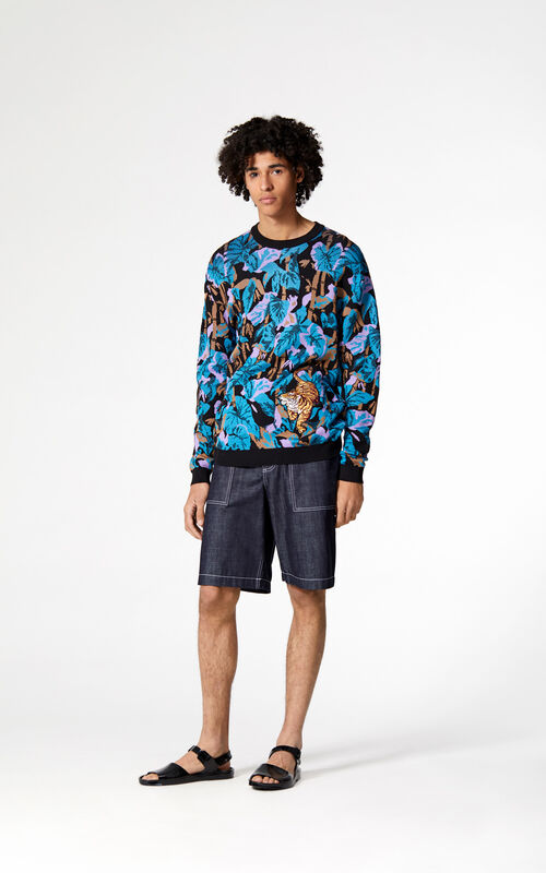 BLACK 'Bamboo Tiger' jumper for men KENZO