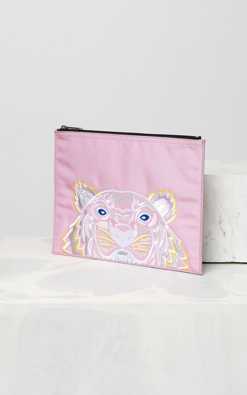 FLAMINGO PINK A4 Tiger Canvas clutch for women KENZO