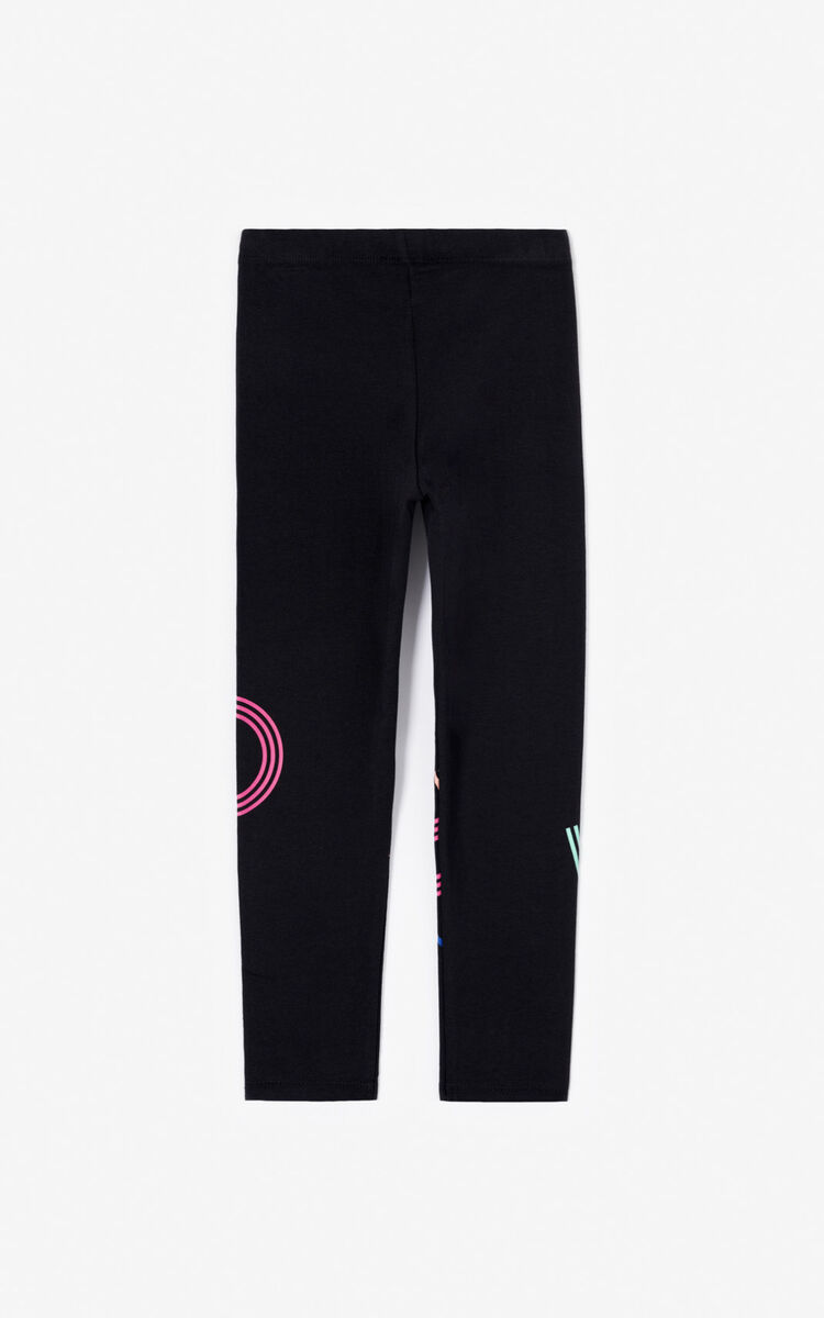 BLACK Multicoloured KENZO logo leggings for women