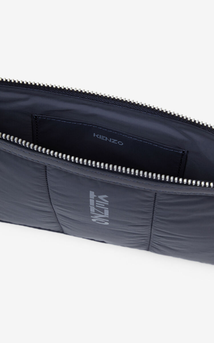 NAVY BLUE KENZOMANIA large quilted clutch for men