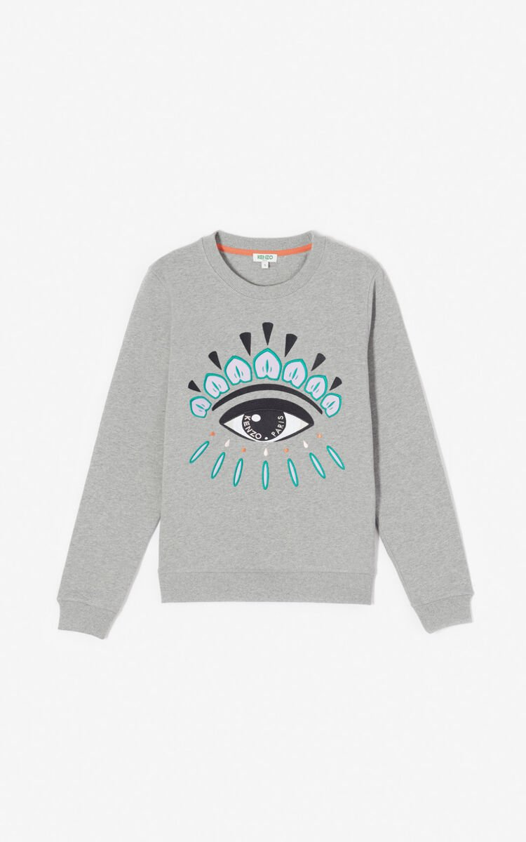 DOVE GREY Embroidered Eye sweatshirt for women KENZO