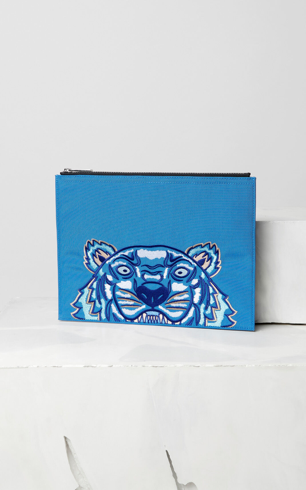 FRENCH BLUE A4 Tiger Canvas clutch for women KENZO