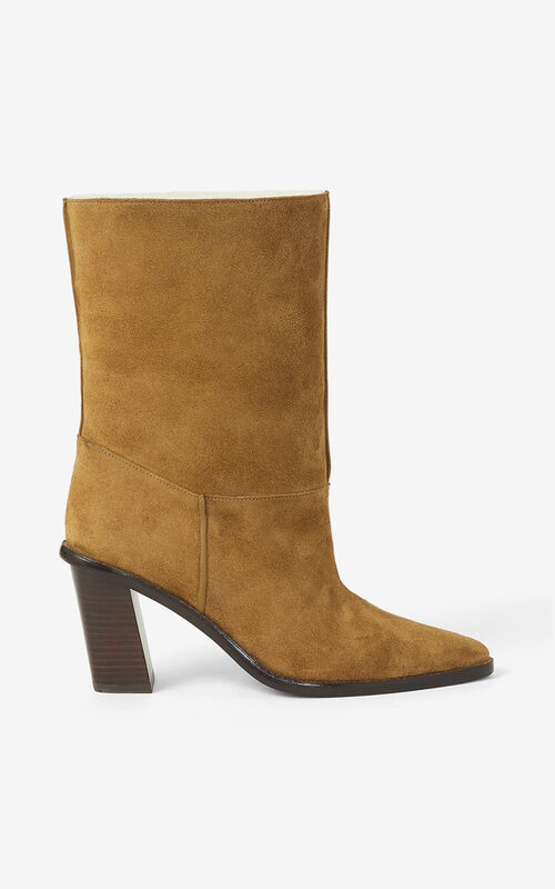 DARK CAMEL K-Line heeled suede ankle boots for women KENZO