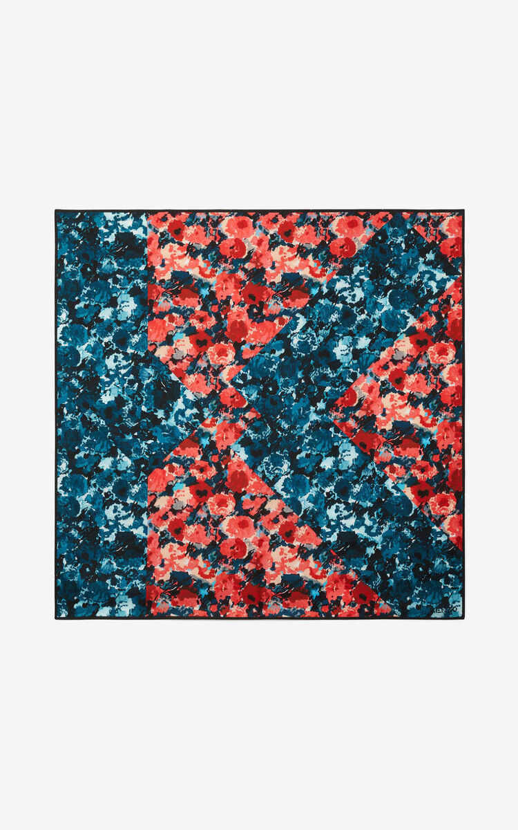 MEDIUM ORANGE 'Aquarelle' silk square for unisex KENZO