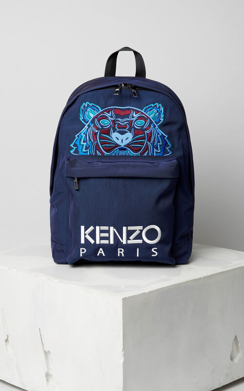 504f3a5a642 NAVY BLUE Large Tiger Canvas backpack for unisex KENZO ...