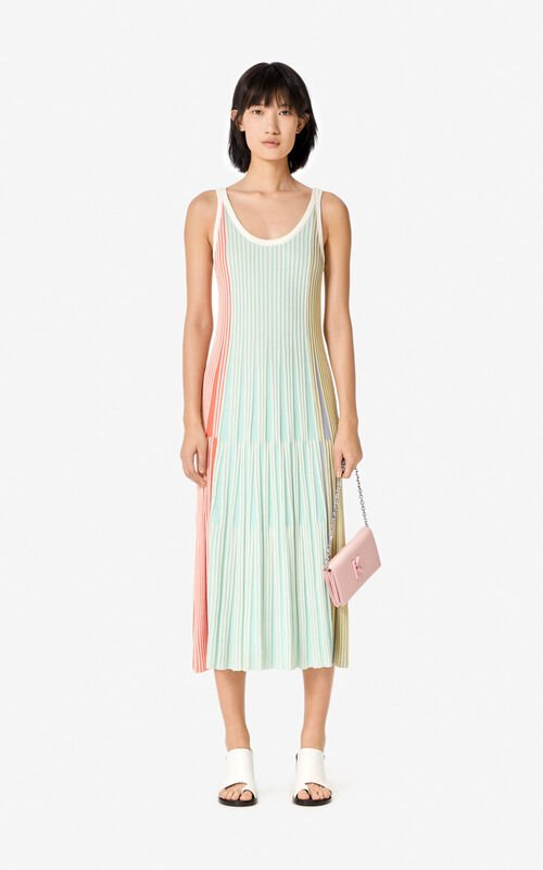 MULTICOLOR Pleated knit midi dress for women KENZO